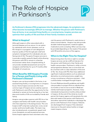 The Role of Hospice in Parkinson's