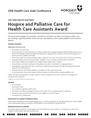 Hospice and Palliative Care for Health Care assistants award