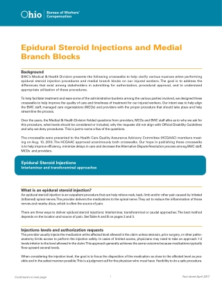 Epidural Steroid Injections and Medial Branch Blocks