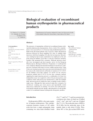 Biological evaluation of recombinant human erythropoietin in pharmaceutical products