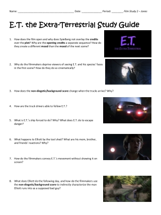 E.T. E.T. t the Extra he Extra- -Terrestrial Terrestrial S St tudy