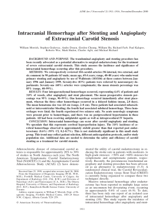 Intracranial Hemorrhage after Stenting and Angioplasty of Extracranial Carotid Stenosis