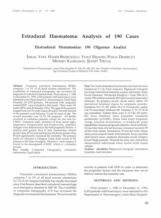 Extradural Haematoma: Analysis of 190 Cases