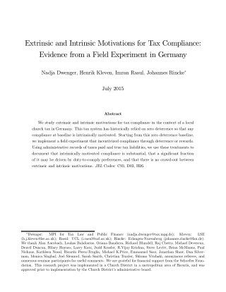 Extrinsic and Intrinsic Motivations for Tax Compliance: Evidence from a Field Experiment in Germany