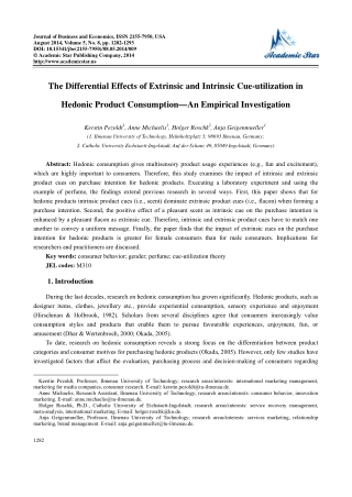 The Differential Effects of Extrinsic and Intrinsic Cue-utilization in Hedonic Product Consumption—An Empirical Investigation
