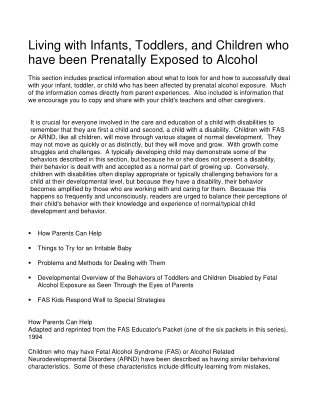 Living with Infants, Toddlers, and Children who have been Prenatally Exposed to Alcohol