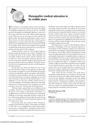 Osteopathic medical education inits middle years