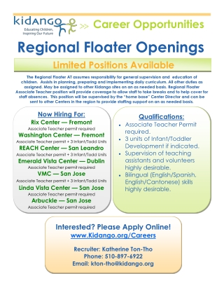 Regional Floater Openings