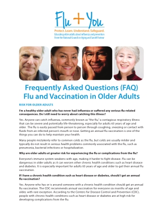 Frequently Asked Questions (FAQ) Flu and Vaccination in Older Adults