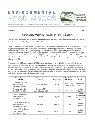 Community Water Fluoridation in New Hampshire