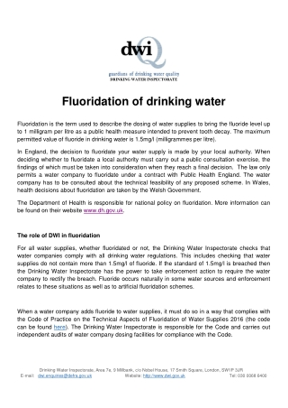 Fluoridation of drinking water