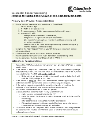 Colorectal Cancer Screening Process for using Fecal Occult Blood Test Request Form