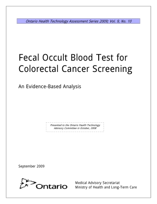 Fecal Occult Blood Test for Colorectal Cancer Screening
