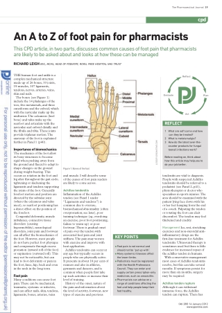 An A to Z of foot pain for pharmacists