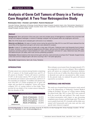 Analysis of Germ Cell Tumors of Ovary in a Tertiary Care Hospital: A Two Year Retrospective Study