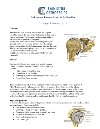 Arthroscopic Labrum Repair of the Shoulder