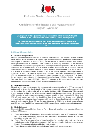 Guidelines for the diagnosis and management of Brugada Syndrome