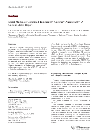 Spiral Multislice Computed Tomography Coronary Angiography: A Current Status Report