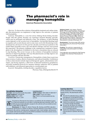 The pharmacist's role in managing hemophilia