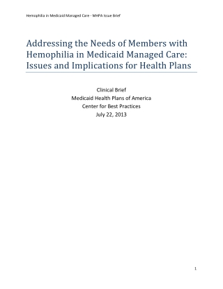 Addressing the Needs of Members with Hemophilia in Medicaid Managed Care: Issues and Implications for Health Plans