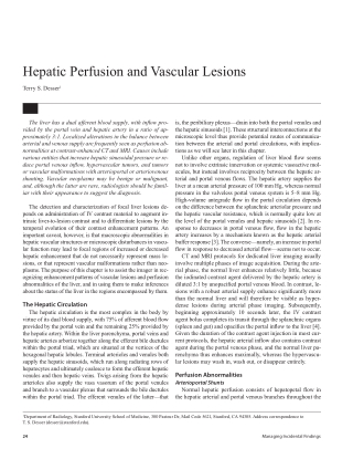 Hepatic Perfusion and Vascular Lesions