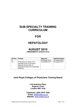 SUB-SPECIALTY TRAINING CURRICULUM FOR HEPATOLOGY AUGUST 2010