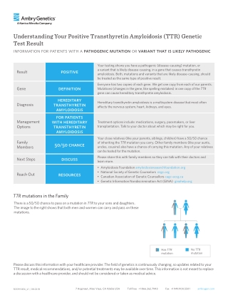Understanding Your Positive Transthyretin Amyloidosis (TTR) Genetic Test Result