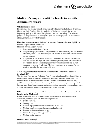 Medicare's hospice benefit for beneficiaries with