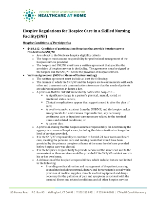 Hospice Regulations for Hospice Care in a Skilled Nursing Facility(SNF)