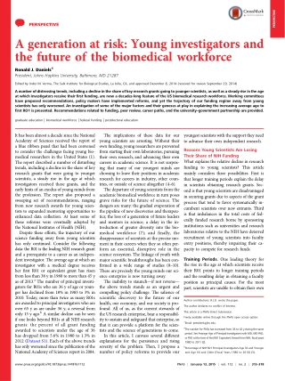 A generation at risk: Young investigators and the future of the biomedical workforce
