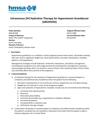 Intravenous (IV) Hydration Therapy for Hyperemesis Gravidarum (ARCHIVED)