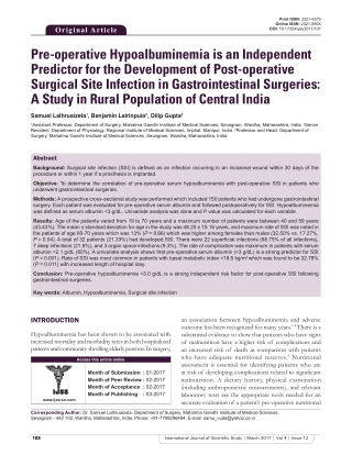 Pre-operative Hypoalbuminemia is an Independent Predictor for the Development of Post-operative Surgical Site Infection in Gastrointestinal Surgeries: A Study in Rural Population of Central India