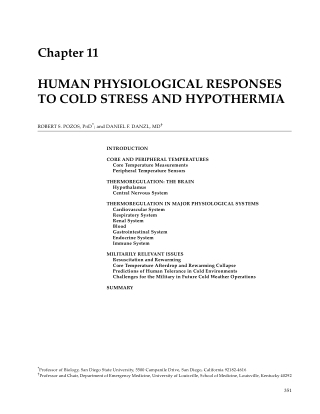 Chapter 11 HUMAN PHYSIOLOGICAL RESPONSES TO COLD STRESS AND HYPOTHERMIA