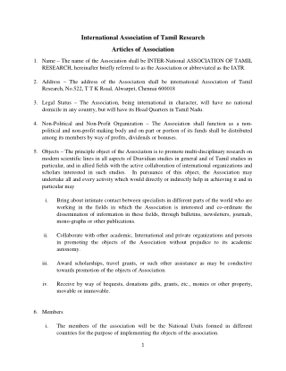 International Association of Tamil Research Articles of Association