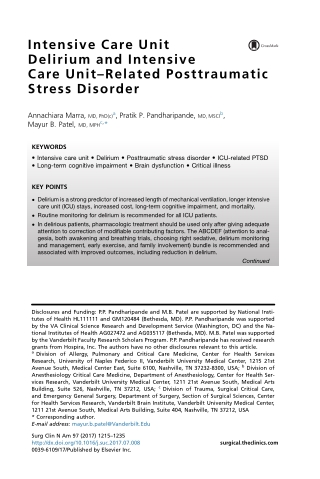 Intensive Care Unit Delirium and Intensive Care Unit–Related Posttraumatic Stress Disorder