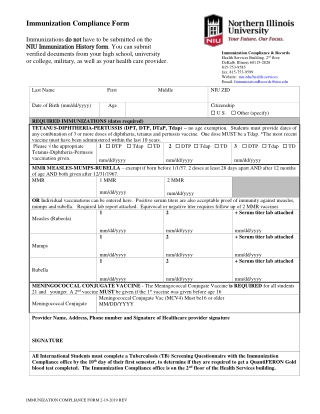 Immunization Compliance Form