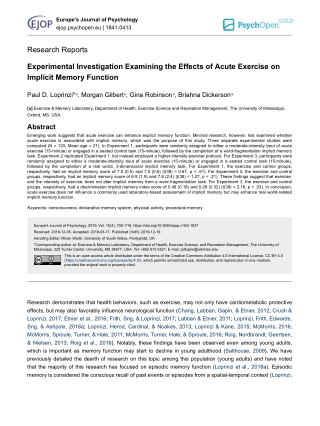 Experimental Investigation Examining the Effects of Acute Exercise on Implicit Memory Function