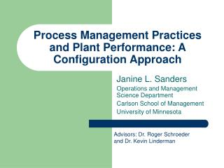 Process Management Practices and Plant Performance