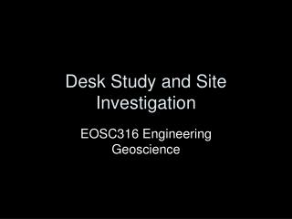 Work area Study and Site Investigation