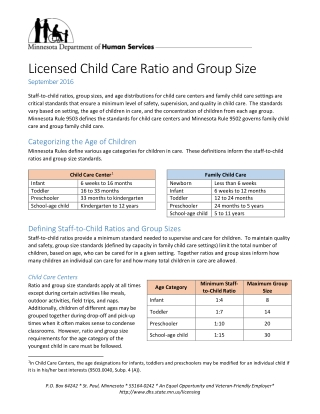 Licensed Child Care Ratio and Group Size