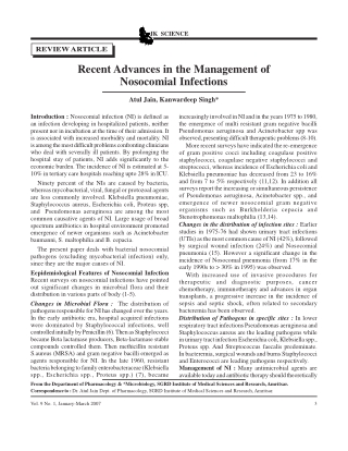 Recent Advances in the Management of Nosocomial Infections