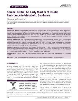 Serum Ferritin: An Early Marker of Insulin Resistance in Metabolic Syndrome