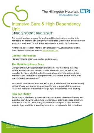 Intensive Care & High Dependency Unit