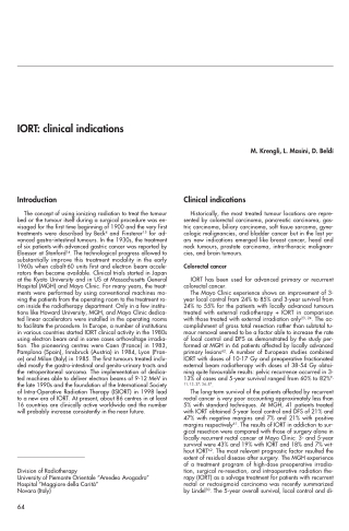 IORT: clinical indications