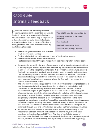Student engagement w ith intrinsic feedback