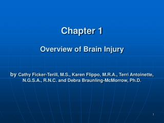 Section 1 Overview of Brain Injury by Cathy Ficker-Terill, M.S., Karen Flippo, M.R.A., Terri Antoinette, N.G.S.A., R.