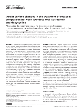 Ocular surface changes in the treatment of rosacea: comparison between low-dose oral isotretinoin and doxycycline