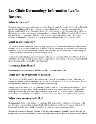 Lee Clinic Dermatology Information Leaflet Rosacea