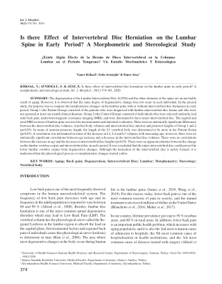 Is there Effect of Intervertebral Disc Herniation on the Lumbar Spine in Early Period? A Morphometric and Stereological Study