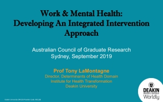 Work & Mental Health: Work & Mental Health: Developing An Integrated Intervention Developing An Integrated Intervention Approach Approach